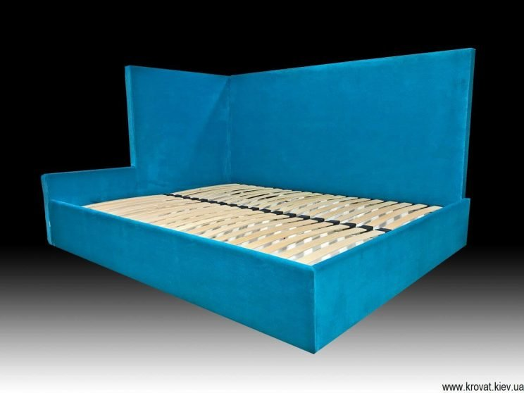 угловая кровать с подъемным механизмом в угол спальни на заказ