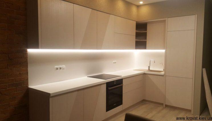 шпонированная кухня с диодной подсветкой на заказ
