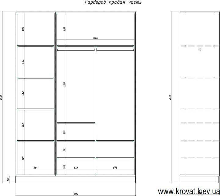 проект гардеробної кімнати з розмірами