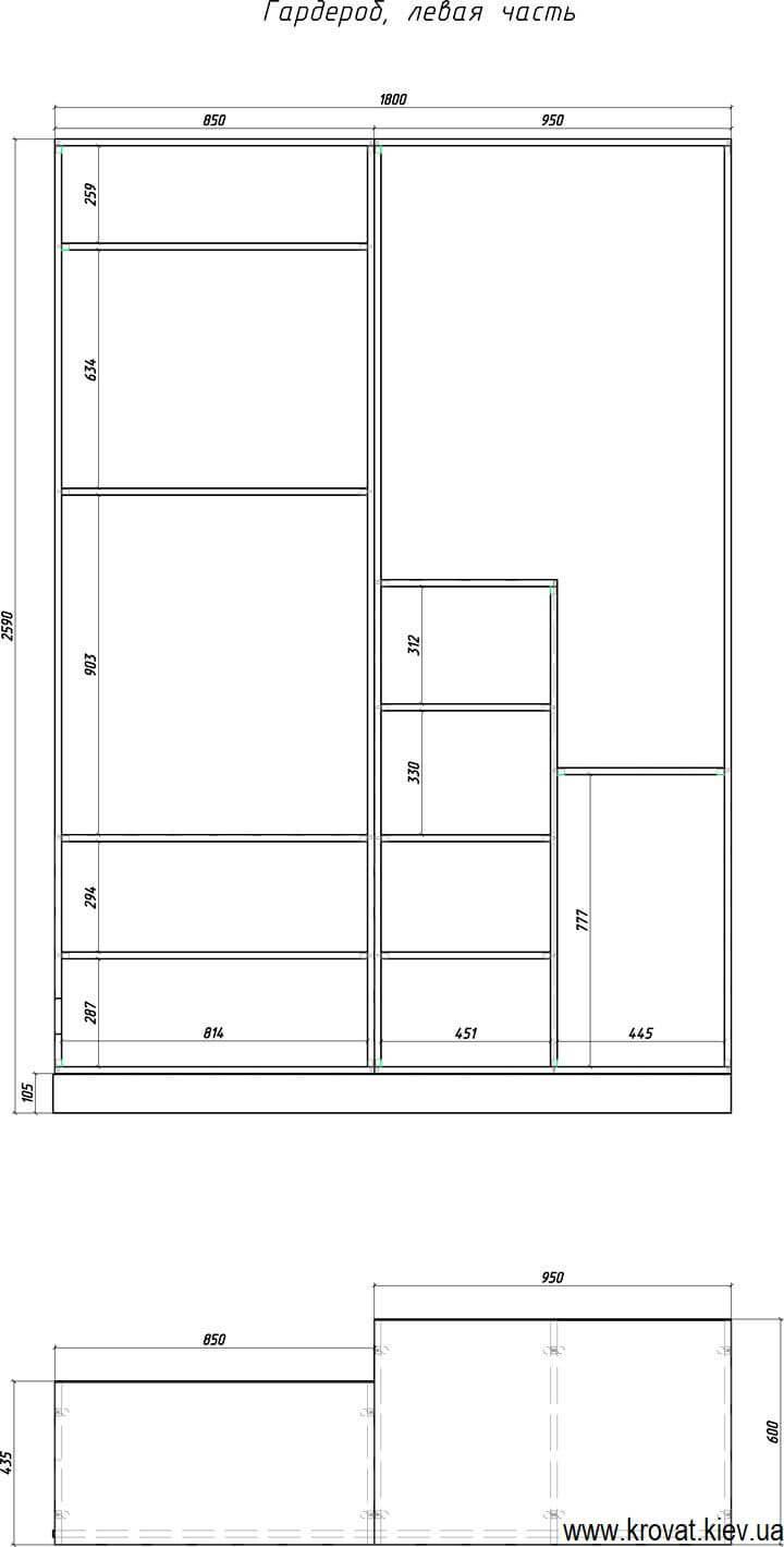 чертеж гардеробной комнаты с размерами