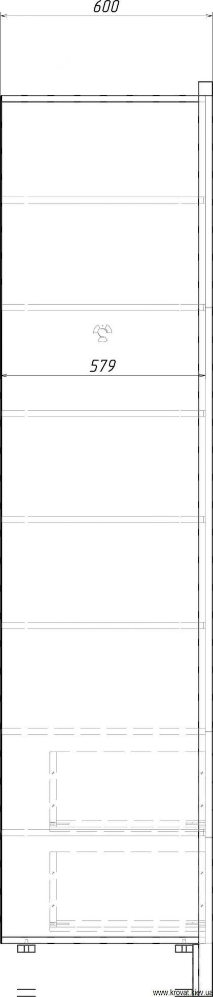 чертеж шпонированного шкафа с размерами