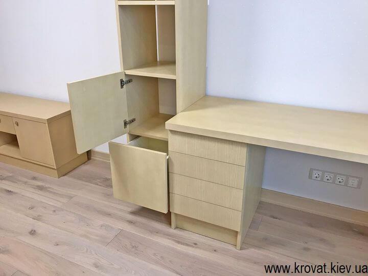 письменный шпонированный стол с ящиками и полками на заказ
