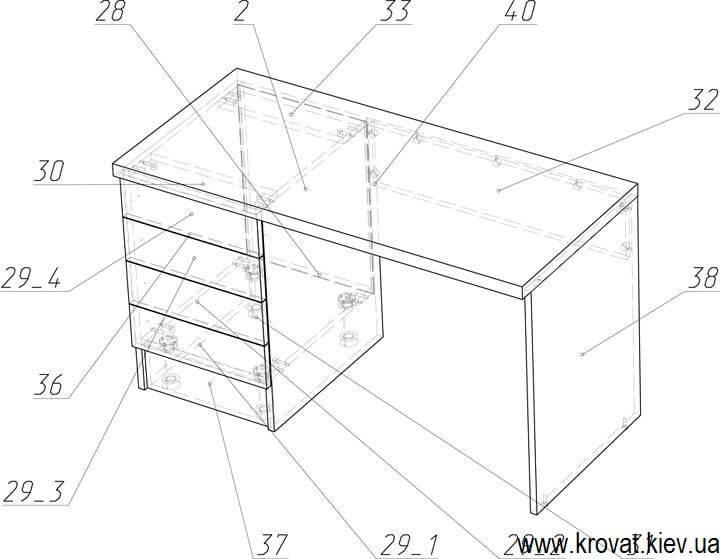 чертеж письменного стола на заказ