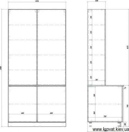 Чертеж нестандартного шкафа для балкона с размерами