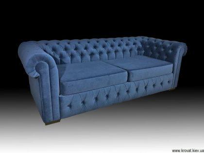диван Честер в ткани соло вельвет синего цвета