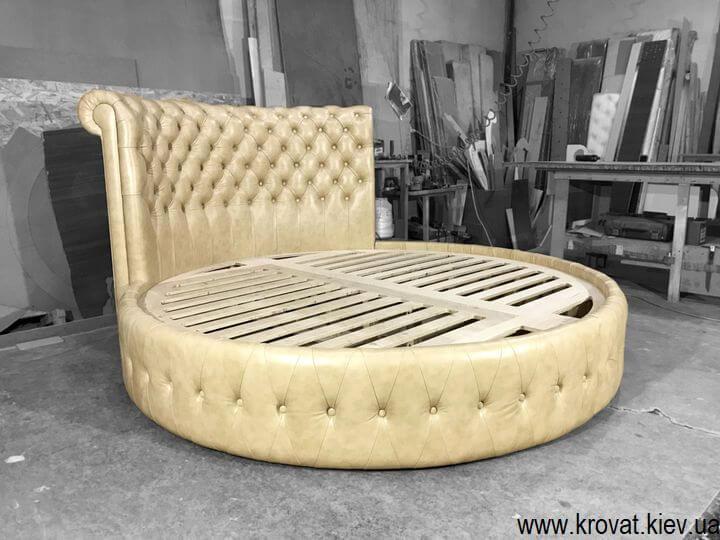 кожаные круглые кровати на заказ