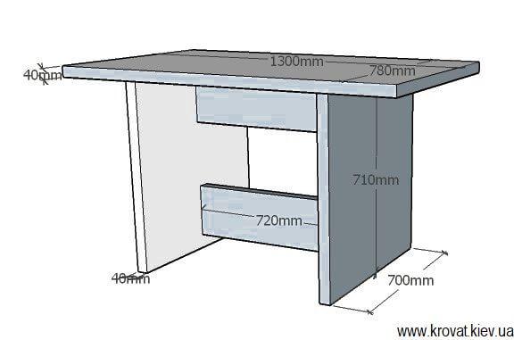 чертеж шпонированного стола с размерами