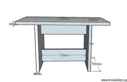 чертеж шпонированного стола на кухню с размерами