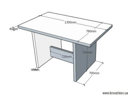 чертеж кухонного стола из шпона с размерами