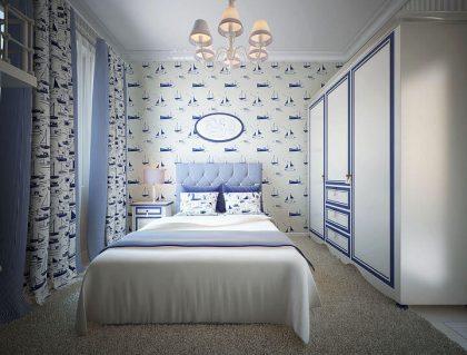 голубая кровать в спальню для девочки