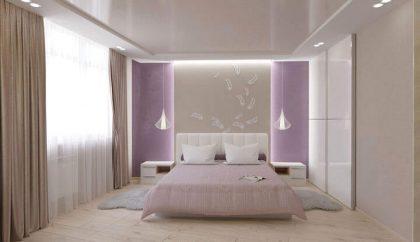 кровать в интерьере спальни 3d