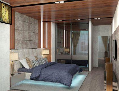 3d проект спальни с широкой кроватью