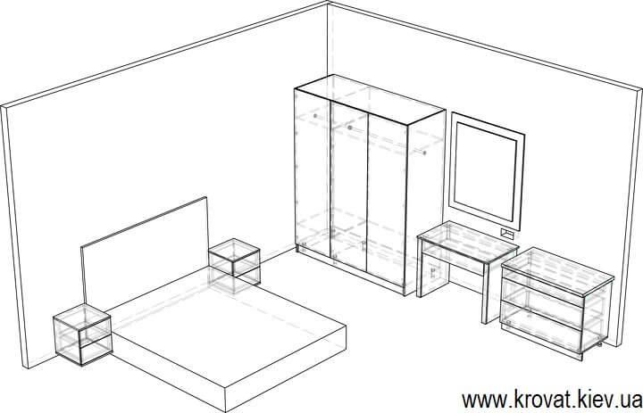 эскиз спальни с будуарным столиком