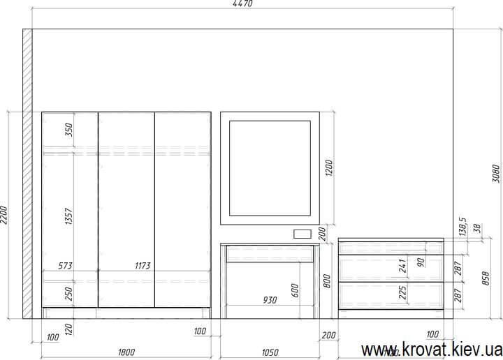 чертеж шкафа с размерами