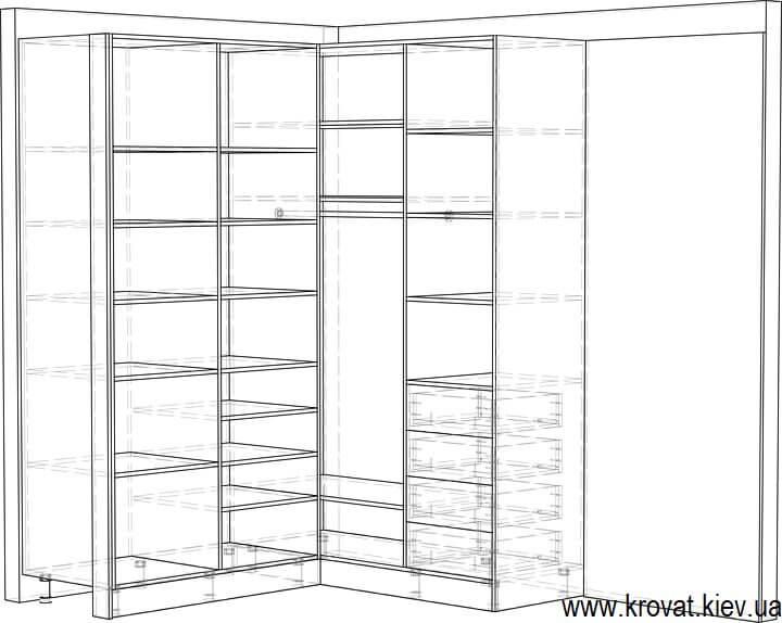 чертежи угловой гардеробной с зеркалом на заказ
