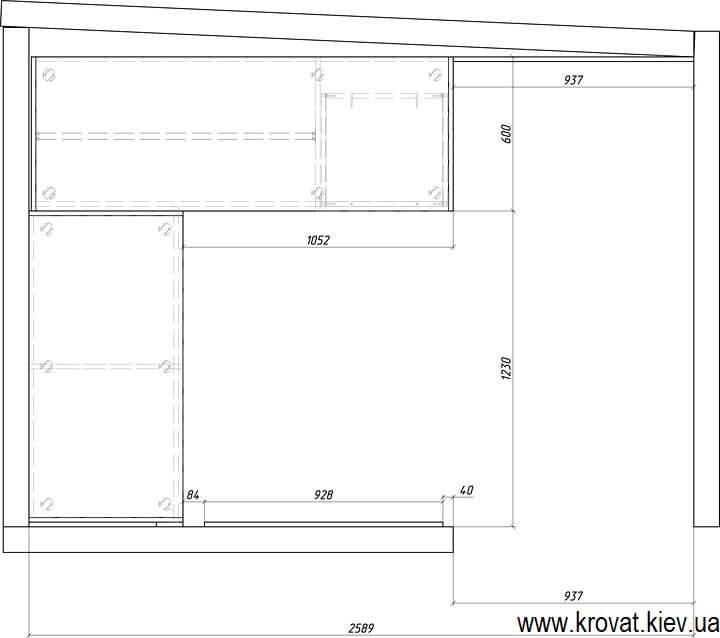 чертежи угловой гардеробной комнаты на заказ