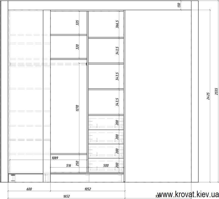 креслення кутової гардеробної кімнати з розмірами