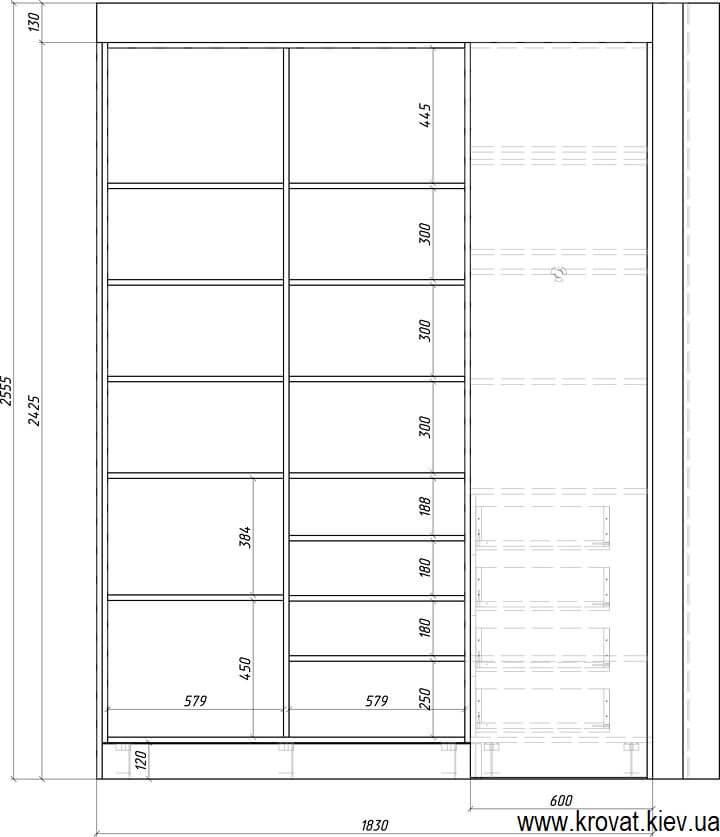 проект угловой гардеробной комнаты с размерами