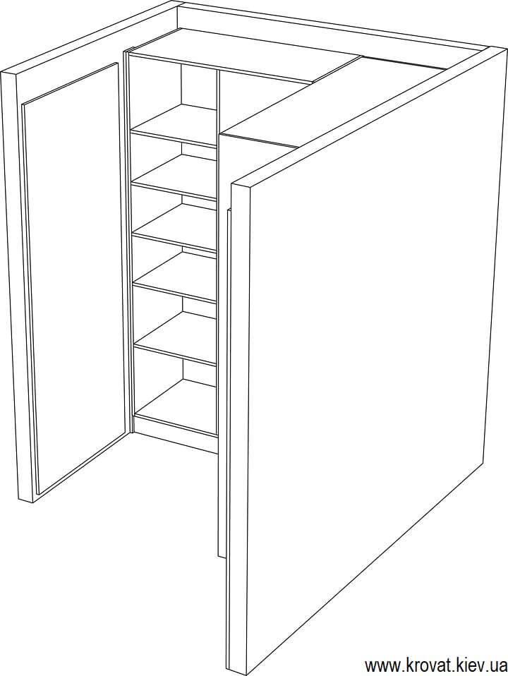 проект угловой гардеробной комнаты в нише