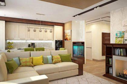 3D дивана в интерьере кухни студии