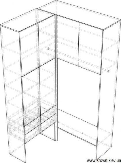 чертеж маленькой гардеробной комнаты