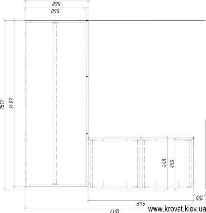 проект маленької гардеробної кімнати з розмірами