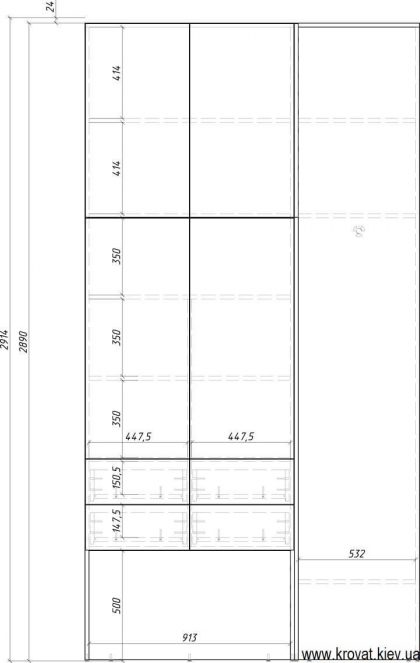 чертеж маленькой гардеробной комнаты с размерами