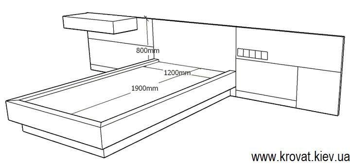 чертеж полуторной кровати на заказ