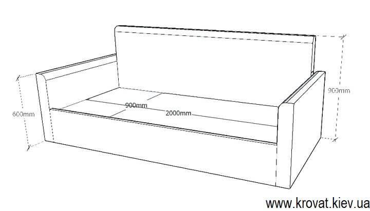 проект дивана-кровати с размерами на заказ