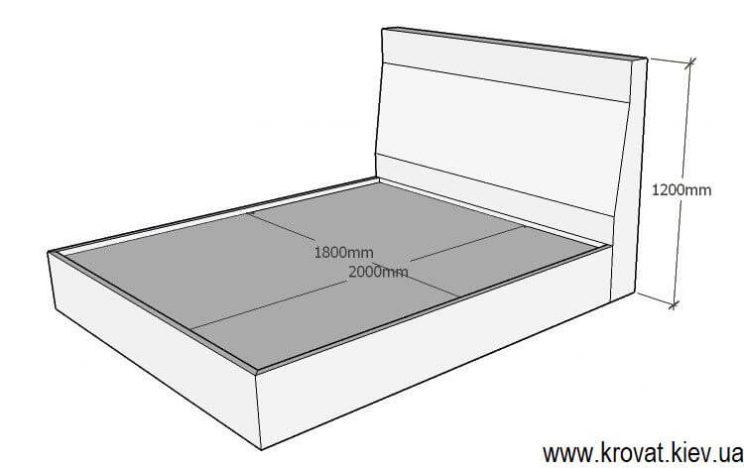 проект ліжка 180 на 200 з розмірами на замовлення