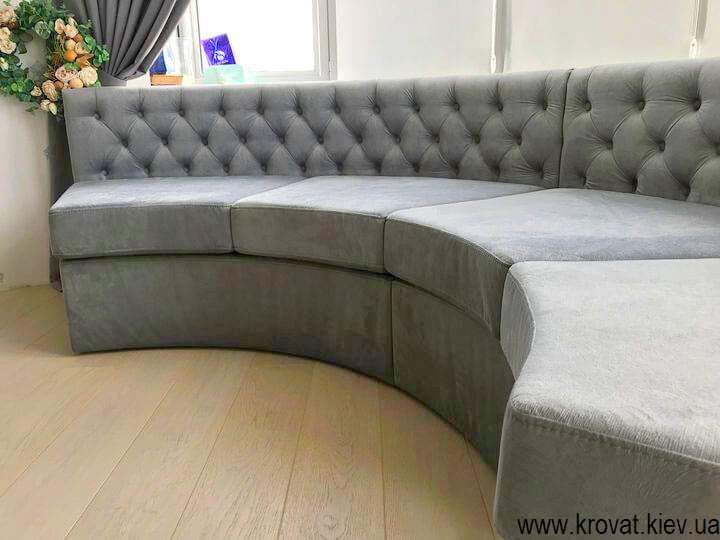 мягкий полукруглый диван в эркер на заказ