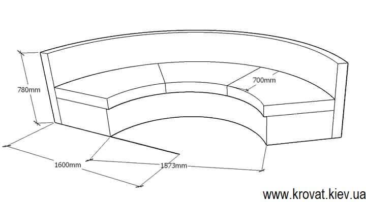 проект дивана півколом з розмірами на замовлення