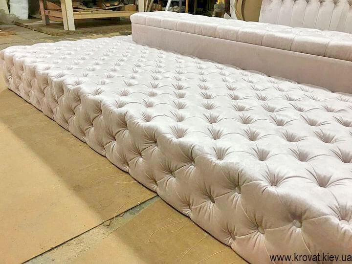 кровать в интерьере большой спальни на заказ