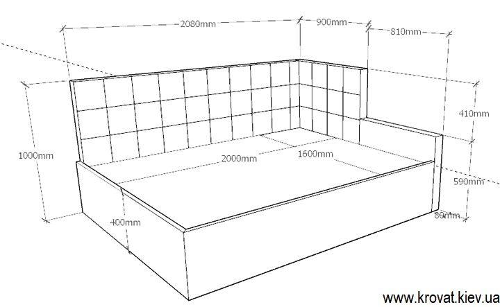 чертеж угловой кровати с размерами