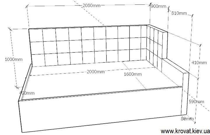 проект кровати с обрезанной спинкой по размерам