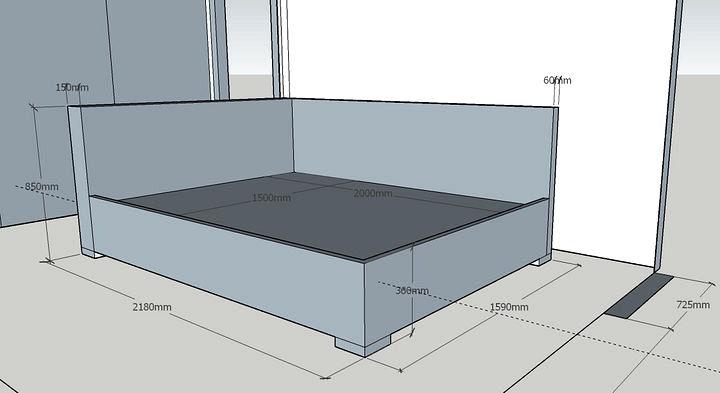 проект кутового ліжка з розмірами в спальню на замовлення