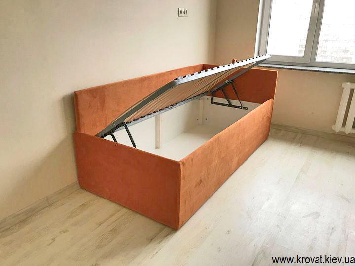 односпальная кровать с ящиком для белья на заказ