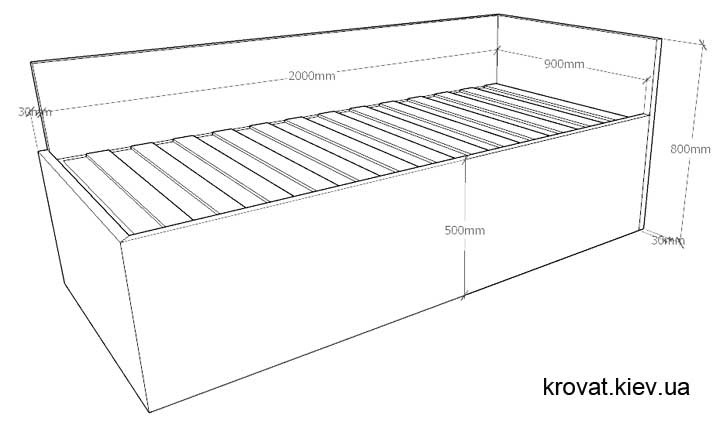 розміри одномісного ліжка на замовлення
