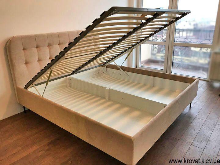 высокая двуспальная кровать с ящиком