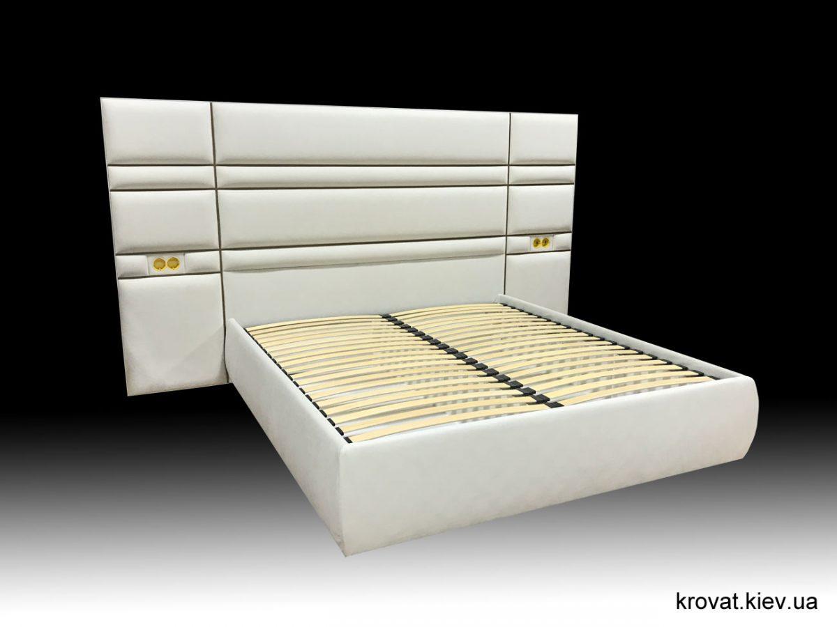 мягкая кровать с большим изголовьем на заказ