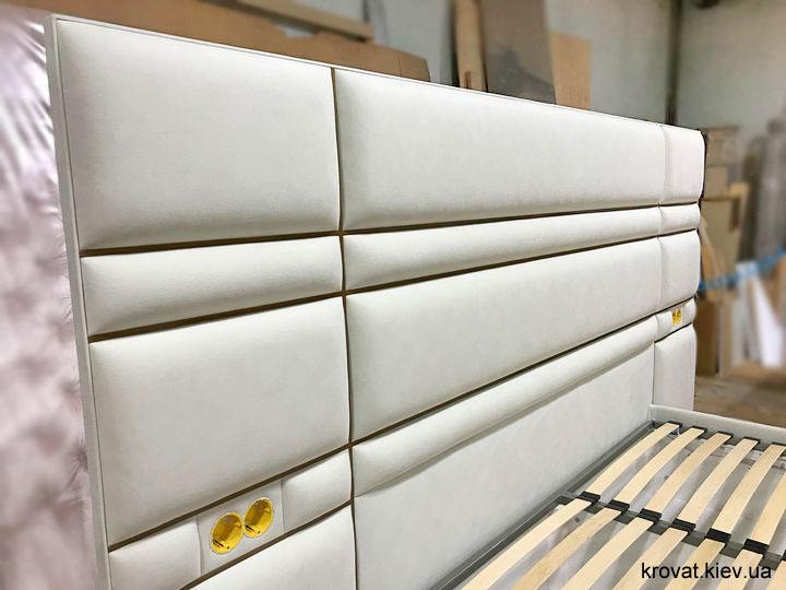изголовье кровати с металлическими вставками на заказ