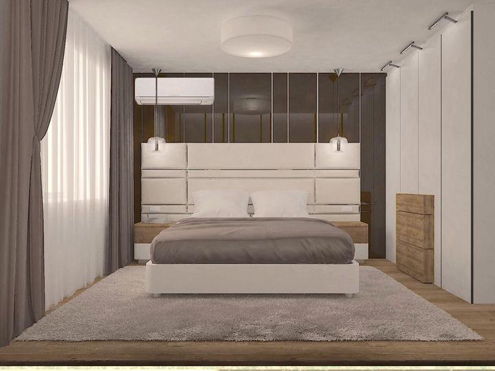 3d проект кровати с большим мягким изголовьем на заказ