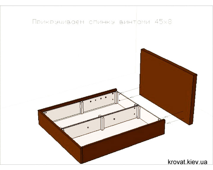 сборка кровати с ламелями