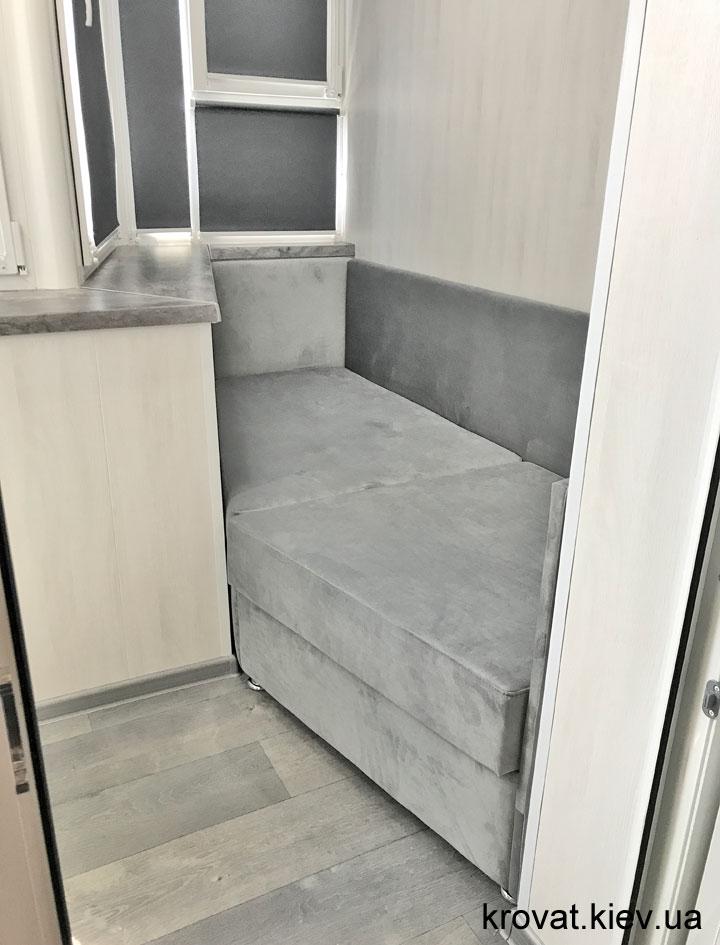 встроенный диван для балкона на заказ