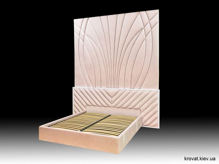 кровать со стеновой панелью в спальню на заказ