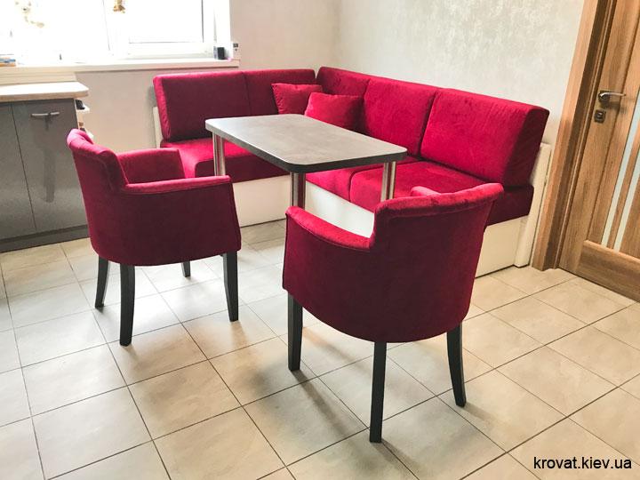 нераскладной угловой диван на кухню на заказ