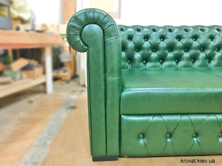зеленый диван честер из кожзама на заказ