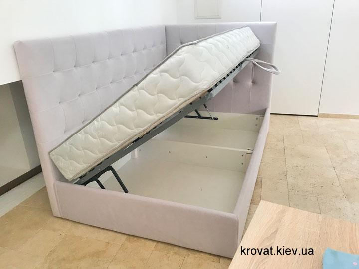 угловая кровать с боковым подъемным механизмом на заказ