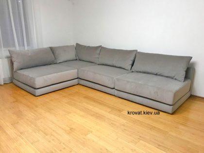 угловой диван в зал на заказ в ткани solo velvet 1129