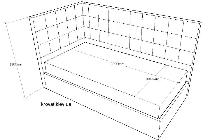 креслення дитячого кутового ліжка з розмірами